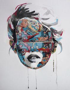 Comic Portrait painting by Sandra Chevrier Art And Illustration, Sandra Chevrier, Art Fantaisiste, Graffiti, Freedom Art, Urbane Kunst, Paper Artwork, Inspiration Art, Portraits