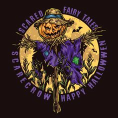 Scarecrow Happy Halloween vector design illustration. Perfect for your Halloween look 2021. Find awesome Halloween designs on our website. 100% vector and editable text.