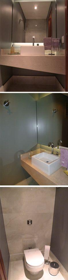 Projeto da Arquiteta Larissa Araujo Soares - Sigma Arquitetura. Reforma de um lavabo.