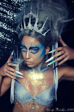 New Ideas Nails Mermaid Ice Queen Fantasy Hair, Fantasy Makeup, Ice Queen Makeup, Glam Photoshoot, Extreme Makeup, Avant Garde Hair, Magical Makeup, Hair Shows, Costume Makeup