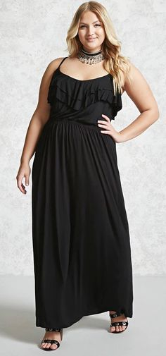 6518d103366ad Plus Size Ruffled Maxi Dress Curvy Fashion Summer