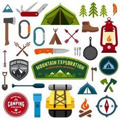 18209336-ensemble-de-symboles-et-icones-materiel-de-camping