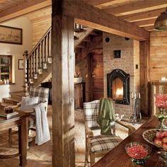 Love the fire box / wall stove Cabin Homes, Cottage Homes, Log Homes, Log Home Interiors, Cottage Style Decor, Cute Home Decor, Cabin Design, My Dream Home, Sweet Home