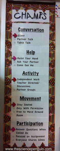 CHAMPS: Classroom Pics and Organization