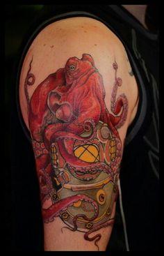 Octopus on divers helmet