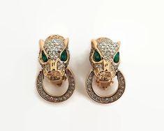 Nina Ricci rhinestone Jaguar earrings that look like small door knockers, 1980s by CardCurios on Etsy Vintage Earrings, Clip On Earrings, Small Doors, Half Circle, Door Knockers, Emerald Green, Jaguar, 1980s, Gemstone Rings
