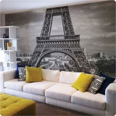 Paris in your lounge room! Removable fabric wall paper.