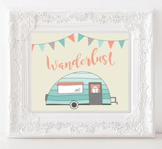 Wanderlust, Travel Wall Art, Camper, INSTANT DOWNLOAD Travel art, Adventure Printable Sign, Camping Decor, Camping Poster, RV Travel Poster by CopperAndToad on Etsy