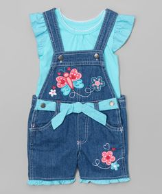 Look what I found on #zulily! Nannette Girl Aqua Ruffle Tee & Denim Butterfly Shortalls - Toddler & Girls by Nannette Girl #zulilyfinds