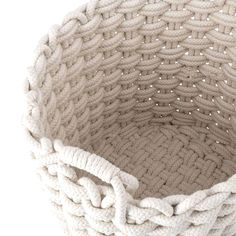 "Form meets function with this set of thick-thread, woven White rope baskets from the Nantucket collection. Handwoven in cotton and polypropylene, woven handles complete the look. Incorporate this duo for a stylish storage solution and keep your living spaces tidy. Dimensions: 18-15-13"" in diameter x 17-16-14.5"" highWeight: 6.4 lbsMaterials: 50% cotton, 50% polypropyleneNo assembly required #ropes #homedecorrope Blanket Basket, Rope Basket, Basket Weaving, Hand Weaving, Rope Rug, Recycled Crafts Kids, Square Baskets, White Rope, Rope Crafts"