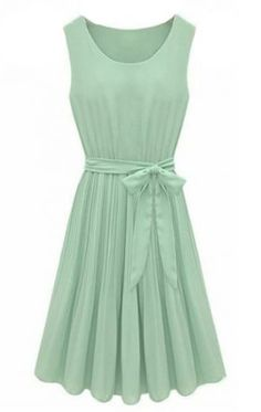 Mint Pleated Belt Chiffon Dress.