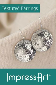 Metal Stamping Tutorial: DIY Earrings - This metal stamping tutorial will teach you how to texture, and dap metal stamping blanks into form - Metal Jewelry Handmade, Diy Jewelry To Sell, Jewelry Making Tutorials, Stamped Jewelry, Jewellery Stamping, Metal Jewellery, Diy Jewellery, Boho Jewelry, Jewelry Ideas
