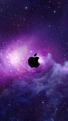 Apple in purple space, stars iPhone 5 (5S) (5C) wallpaper - 640x1136