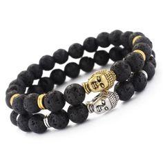 Fashion-Mens-Lava-Rock-Mala-Beads-Buddha-Head-Charm-Yoga-Energy-Beaded-Bracelet