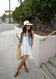 Casual weekend wear - Sam Edelman 'Bryant' Gladiator Sandals. Not so sure about the dress for me, but love the sandals!