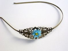 Brass headband with blue sunflower resin cabochon by HirasuGaleri, $18.00