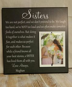 Wedding Gift Sister Wedding Gift Wedding Thank by YourPictureStory
