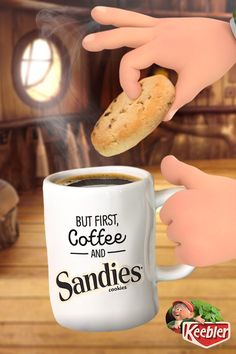 Even Ernie's day doesn't truly start till he gets a steaming hot mug of coffee and some light and buttery Keebler Pecan Sandies cookies.