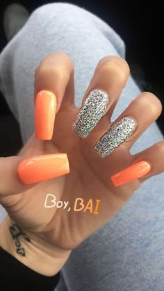 Hottest Trends for Acrylic Nail Shapes Dope Nails, Fun Nails, Colorful Nail Designs, Cute Acrylic Nails, Glitter Nails, Gorgeous Nails, Trendy Nails, Nails Inspiration, How To Do Nails