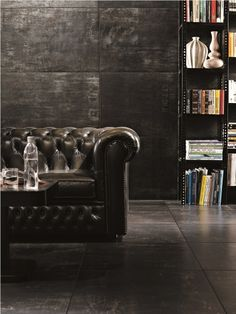 like the feel, colors, wall treatment..maybe something like this in our study, library area..dark, intimate