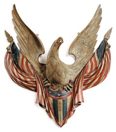 Sculptural Fantasy: The Important American Folk Art Collection of Stephen and Petra Levin Eagles Tattoo, Patriotic Symbols, Rare Birds, Exotic Birds, Colorful Birds, Peacock Bird, American Art, American Pride, Early American