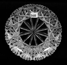 """PLATE - 7"""" - ABCG - CROESUS PATTERN BY J. HOARE. Cut Glass, Glass Art, Glass Etching, Etched Glass, Early American, Antique Glass, Cool Art, Decorative Plates, Auction"""