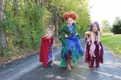 Completely homemade. I made these costumes for my four daughters using fabric from Walmart, a hot glue gun, sewing machine, For Winifreds Sanderson's hair I used a mad hatter wig from Alice In Wonderland and transformed it. I crocheted a black cat hat and cat tail for my youngest. #hocuspocus #costumes #Halloween #Fall #Character #BlackCat #Witch #Cape #halloween2015 #winifredsanderson #SandersonSisters #Homemade #Crafts