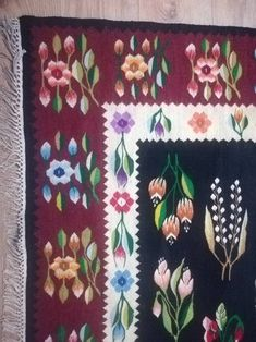 Vintage Oltenia floral rug from the good condition, unique find m × m Turism Romania, Floral Rug, Handmade Items, Handmade Gifts, Folk, Childhood, Textiles, Embroidery, Rugs