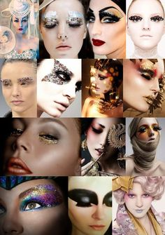 Makeup: Think really elaborate couture/house of Dior style with elements of shimmer and GOLD LEAF and exotic warm colours to represent the colours and textures of the sand/rocks/precious jewels/treasure chests... but in an extremely high fashion editorial way!!