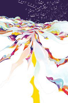 Heisuke Kitazawa - Cloud Surfing Korean Painting, Illustrations And Posters, Cute Illustration, Art Sketchbook, Fractal Art, Collage Art, Art Inspo, Art Drawings, Street Art