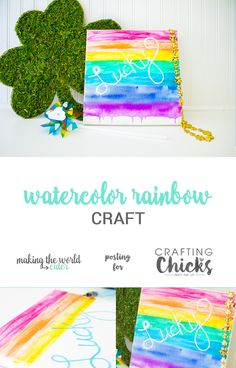 Watercolor Rainbow Craft - Learn to make this cute watercolor rainbow craft, perfect for spring and St. Patrick's Day decor. - The Crafting Chicks