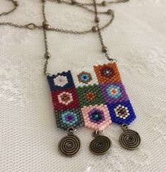My dear Elcin goodbye use on a good day # trend # miyuki # miyukikolye # jewelry Peyote Beading Patterns, Loom Beading, Loom Patterns, Seed Bead Necklace, Beaded Earrings, Bead Crafts, Jewelry Crafts, Necklace For Neckline, Necklace Drawing