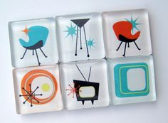 Mid Century Modern Magnets - Glass Magnets - Set of Six 1 Inch Square Strong Magnets on Etsy, $10.50