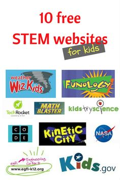 Ten Free STEM Websites for Kids Free STEM websites for kids. STEM games, activites, and experiments for kids of all ages! Game Websites For Kids, Educational Websites For Kids, Educational Activities, Educational Leadership, Learning Apps, Learning Resources, Kids Learning, Learning Piano, Math For Kids