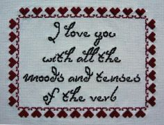 A counted cross stitch sampler I designed based on a line from Bram Stoker's Dracula.