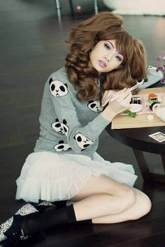 Wildfox Couture Panda Head Party Sweater in Geisha Grey