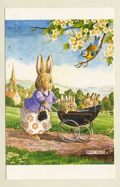 Racey Helps Artist Signed Postcard. 'The Proud Mother' Rabbits, bunnies. Pk 435