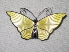 David Anderson Norway Yellow Butterfly Brooch - known for his enamel butterflies & leaves - $55