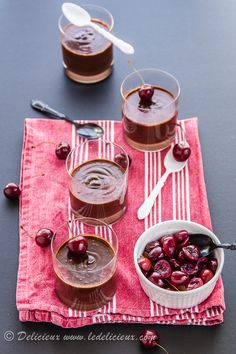 Chocolate Pots de Creme with   Red Wine Poached Cherries from @delicieux