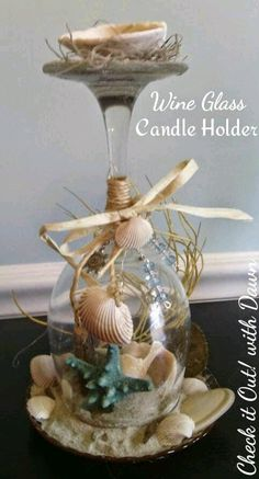 Check it Out! with Dawn: Craft Hop - Beach Themed Wine Glass Candle Holder Check it Out! with Dawn: Craft Hop - Beach Themed Wine Glass Candle Holder Seashell Candles, Seashell Crafts, Beach Crafts, Beach Themed Crafts, Wine Glass Crafts, Wine Bottle Crafts, Bottle Art, Wine Bottles, Wine Corks