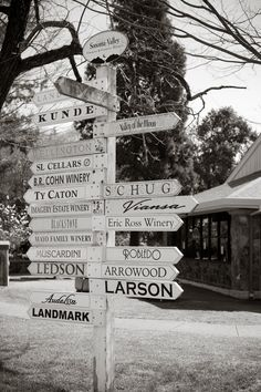 Winery Directional Sign in downtown Glen Ellen, Sonoma Valley