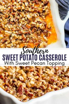 The best Southern Sweet Potato Casserole perfect for family holidays like Thanksgiving, Christmas and Easter! This easy holiday side dish is ready in about 40 minutes and can be made ahead of time for Southern Dishes, Southern Recipes, Sweet Potato Recipe Southern, Sweet Potato Easter Recipe, Thai Panang Curry, Crockpot, Low Carb Brasil, Holiday Side Dishes, Easy Thanksgiving Side Dishes