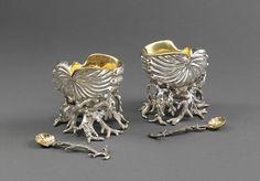 Pair 1858 London silver Victorian shell salts, Robert Garrard2.