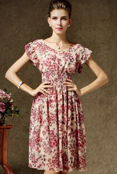 Pink Short Sleeve Floral Pleated Chiffon Dress