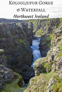 Kolugljufur Gorge and Waterfall. Northwest Iceland. Travel in Europe.