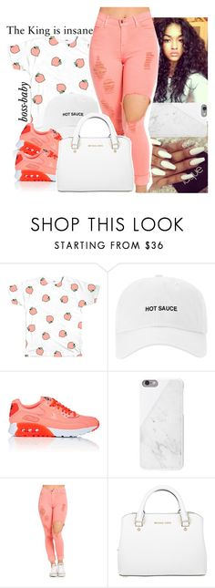 """07•19•16"" by boss-baby ❤ liked on Polyvore featuring NIKE, Native Union, Michael Kors, peach, hot, nike and Curly"