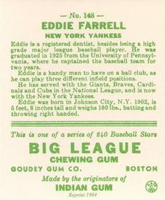 1983 Galasso 1933 Goudey Reprint #148 Doc Farrell Back