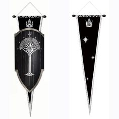"""The Gondorian army was made up of four divisions: Archers, Swordsmen, Axemen, and Spearmen. The Gondorian Shield the soldiers carried was long and broad and made of a number of different layers of wood, edged in metal to produce strong, heavy protection. The front of the shield bore the """"Tree of Gondor"""" surrounded by seven stars and a crown. These were royal symbols of the Gondorian people and showed their noble Numenorean lineage. Lord of the Rings."""