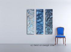 Blue metal Abstract Painting / blue steel CUSTOM painting / 3 painting set / 48x12 / Metallic painting / blue, white, silver, steel by TwistOfUnique on Etsy https://www.etsy.com/uk/listing/486665327/blue-metal-abstract-painting-blue-steel