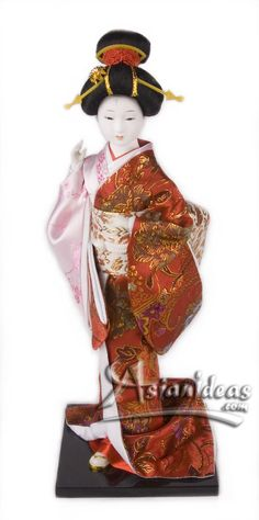 "Today's Feature Product : Japanese Geisha Dolls w Pink and Red Kimono    This 16 inches tall geisha Japanese doll, wearing a traditional pink and red kimono is a beautiful reminder of a long lost time!  In Japanese, the word ""gei"" translates to arts or performance, while ""sha"" means people.     http://www.asianideas.com/japanesegeishadolls1.html"
